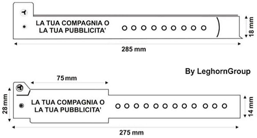 braccialetti identificativi in vinile disegno tecnico