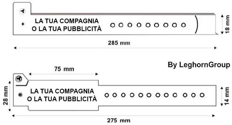 braccialetti rfid hf uhf in pvc disegno tecnico
