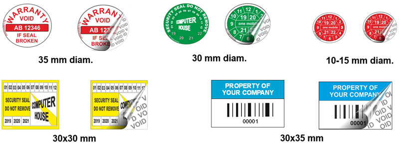 etichette sicurezza void rilascio personalizzazioni