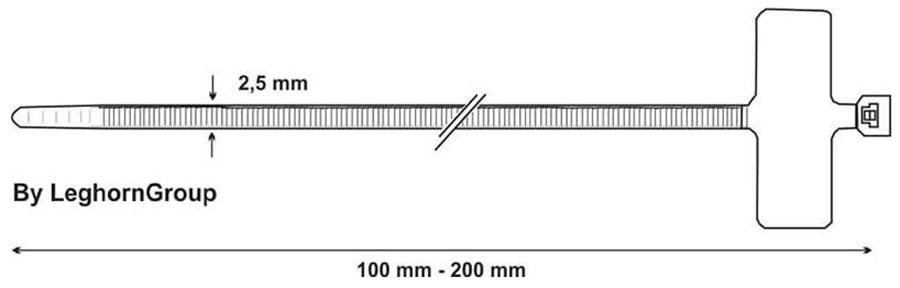 fascette cablaggio con targhetta identificazione disegno tecnico