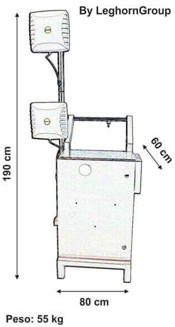 lettore scrittore mobile blindato rfid trolley disegno tecnico