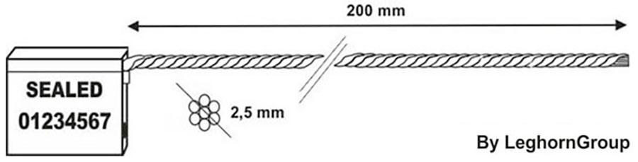 sigilli cavo 2.5x200 mm disegno tecnico