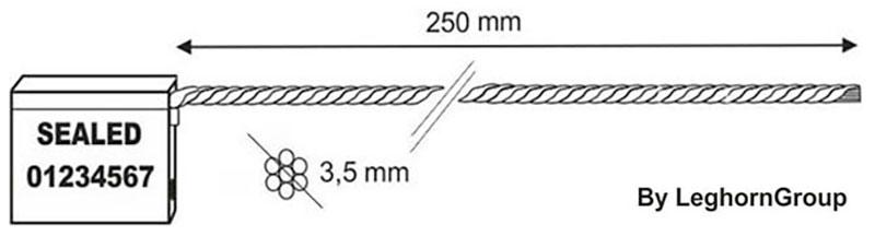 sigilli cavo 3.5x250 mm disegno tecnico