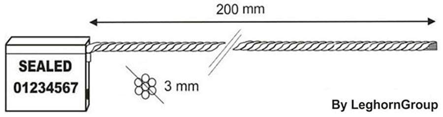 sigilli cavo 3x200 mm disegno tecnico