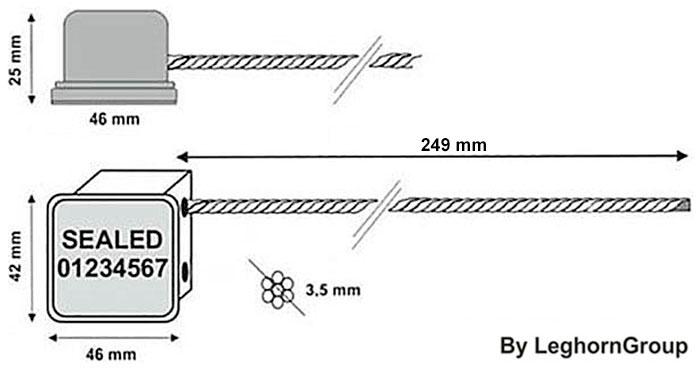 sigilli cavo minicable rfid disegno tecnico