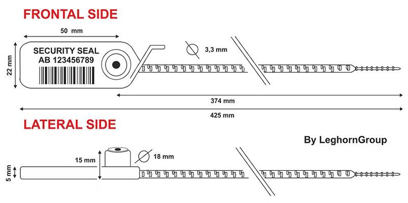 sigilli in plastica adjuste seal rfid nfc disegno tecnico
