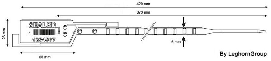 sigilli plastica long seal 6x420 mm disegno tecnico