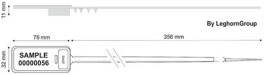 sigilli plastica regolabile hector seal rfid disegno tecnico