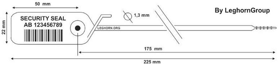 sigilli plastica regolabile jupiter 1.3x225 mm disegno tecnico