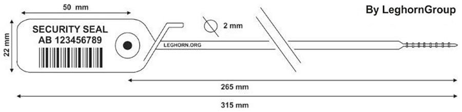 sigilli plastica regolabile jupiter 2x315 mm disegno tecnico