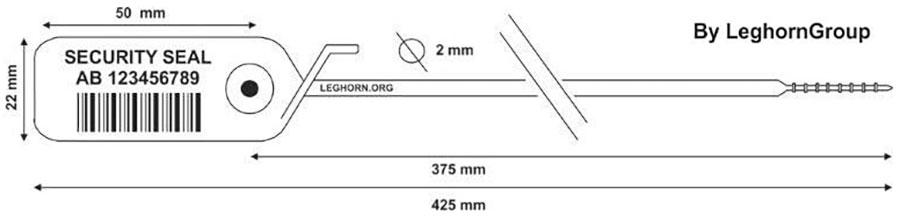 sigilli plastica regolabile jupiter 2x425 mm disegno tecnico