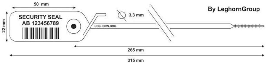 sigilli plastica regolabile jupiter 3.3x315 mm disegno tecnico