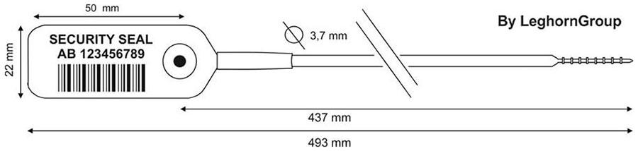 sigilli plastica regolabile jupiter 3.7x493 mm disegno tecnico
