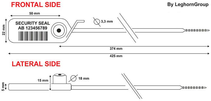 sigilli plastica regolabile jupiter 3.3x425 mm disegno tecnico