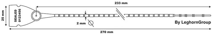 sigilli plastica regolabile scite seal lgh 103-270 mm disegno tecnico