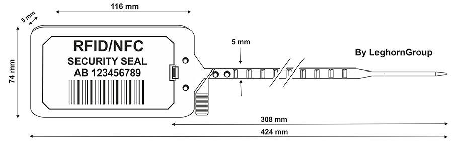 sigilli plastica regolabile titan seal rfid 424 mm disegno tecnico