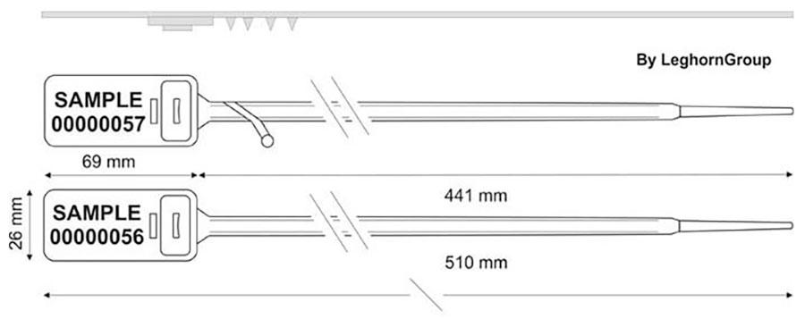 sigilli regolabile in plastica hector seal lt 510 mm disegno tecnico