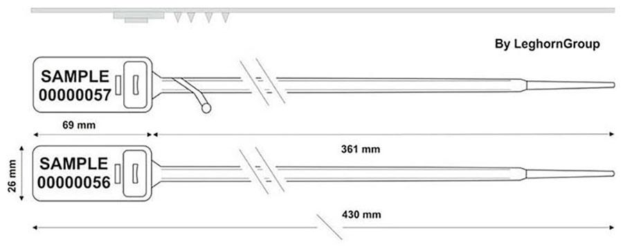 sigilli regolabile di plastica hector seal lt 430 mm disegno tecnico