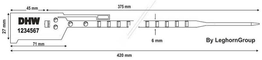 sigilli regolabili plastica bag seal 6x420 mm disegno tecnico