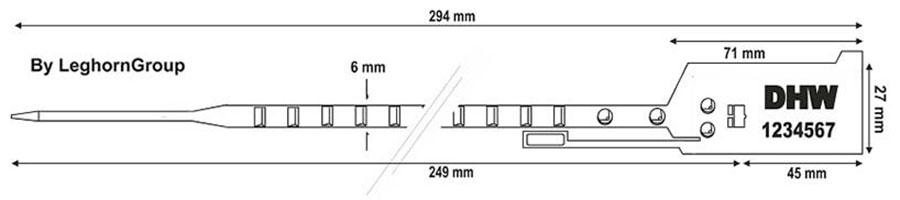sigilli sicurezza regolabile plastica easytight disegno tecnico