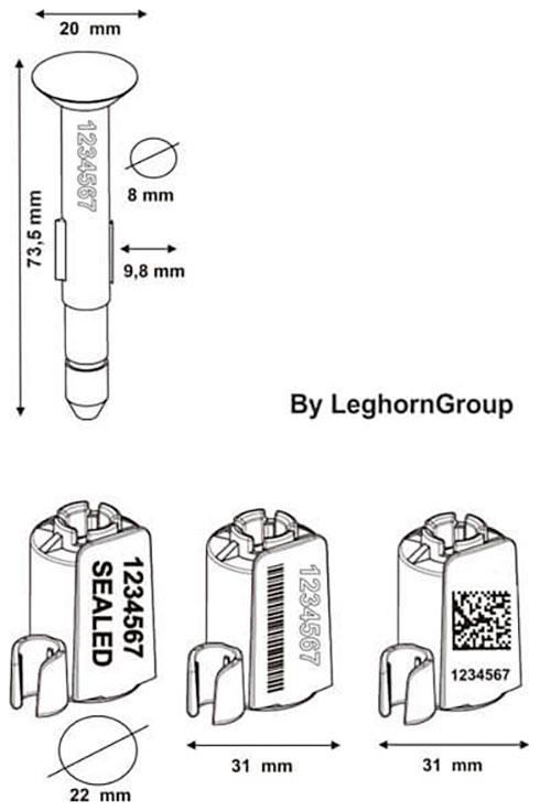 sigillo chiodo container iso neptune seal disegno tecnico