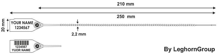 sigillo per uscite di emergenza twiggy seal 250 mm disegno tecnico