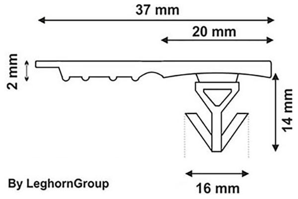 sigillo plastica contenitori casse totebox seal 16 mm disegno tecnico