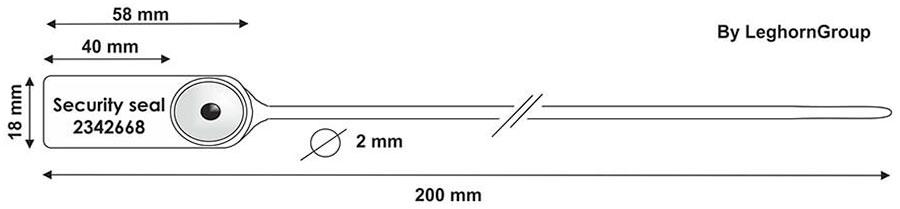 sigilli plastica chiusura metallico jupiter 2x200 mm disegno tecnico